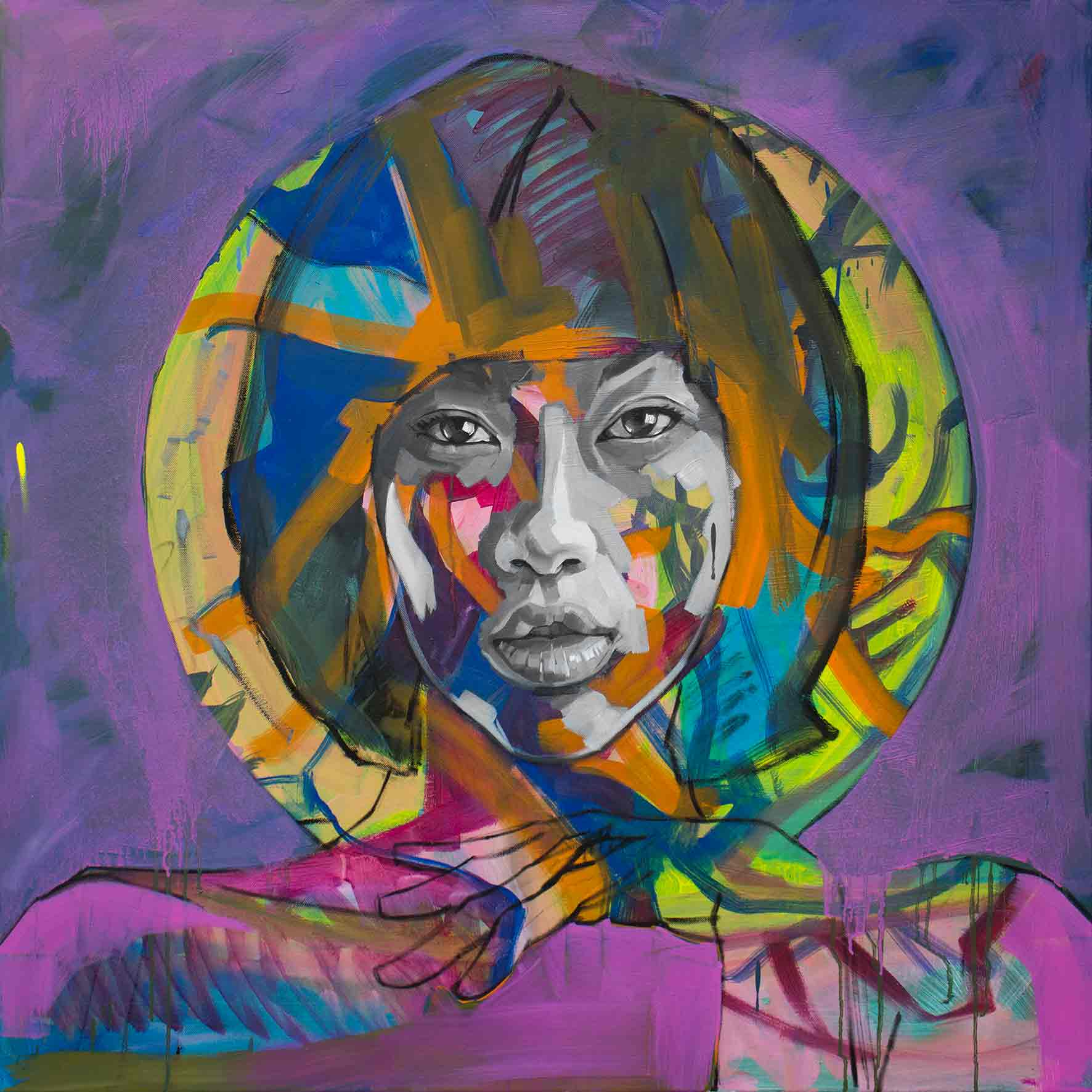Angie 02, Oil on Canvas 36×36 Inches