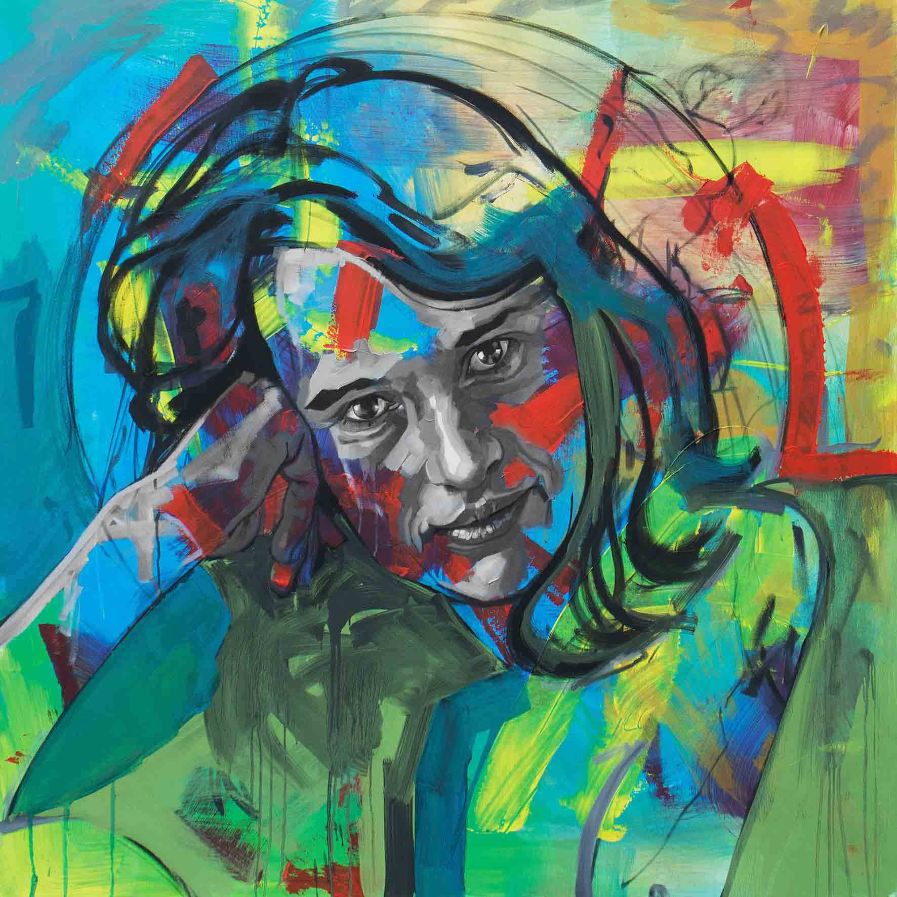 Antje, Oil & Acrylic on Canvas 48×48 Inches