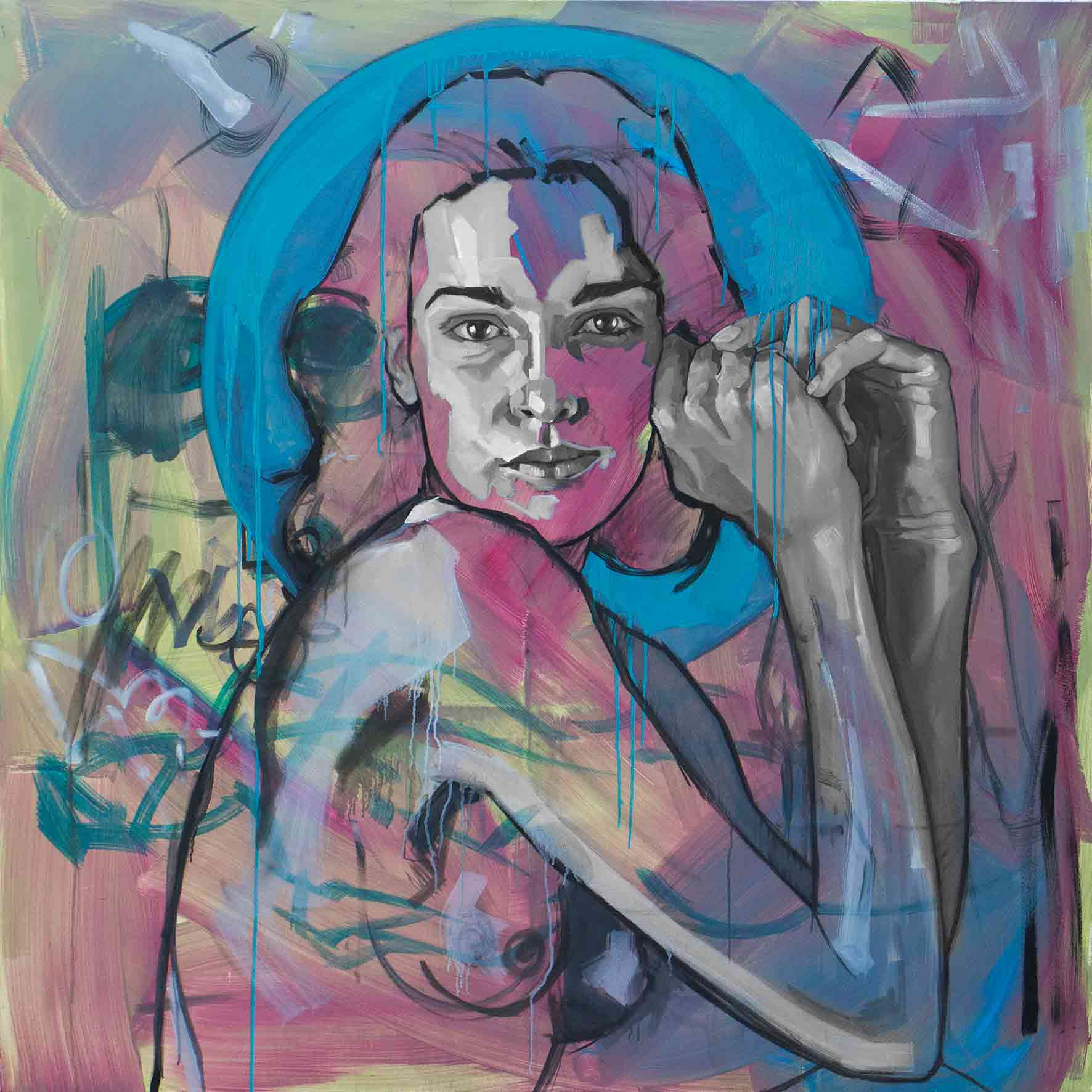 Liza, Oil & Acrylic on Canvas 48×48 Inches