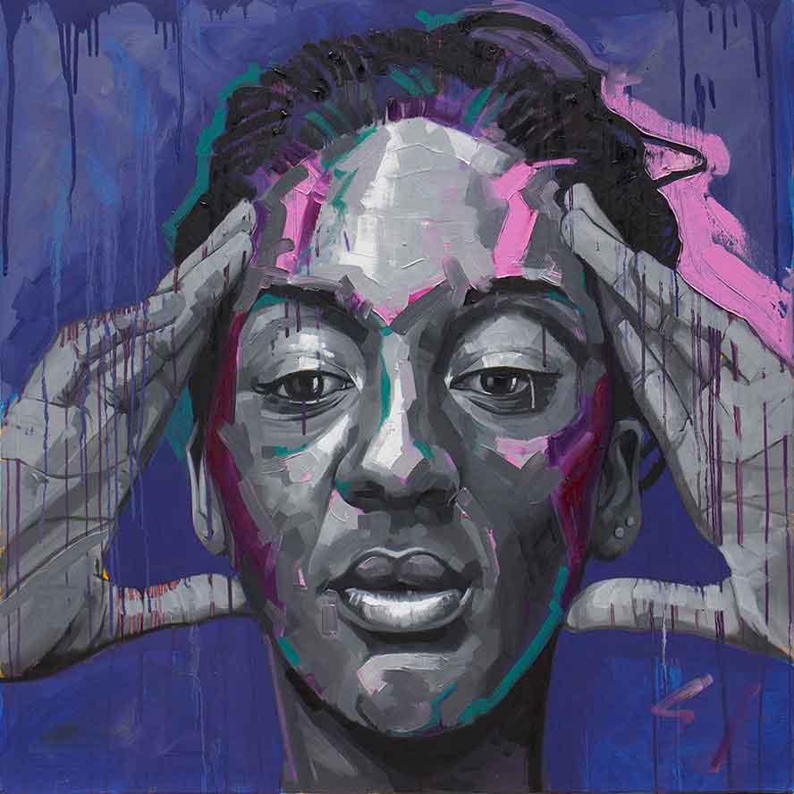 Mario Purple 90 x 90cm, Oil on Canvas