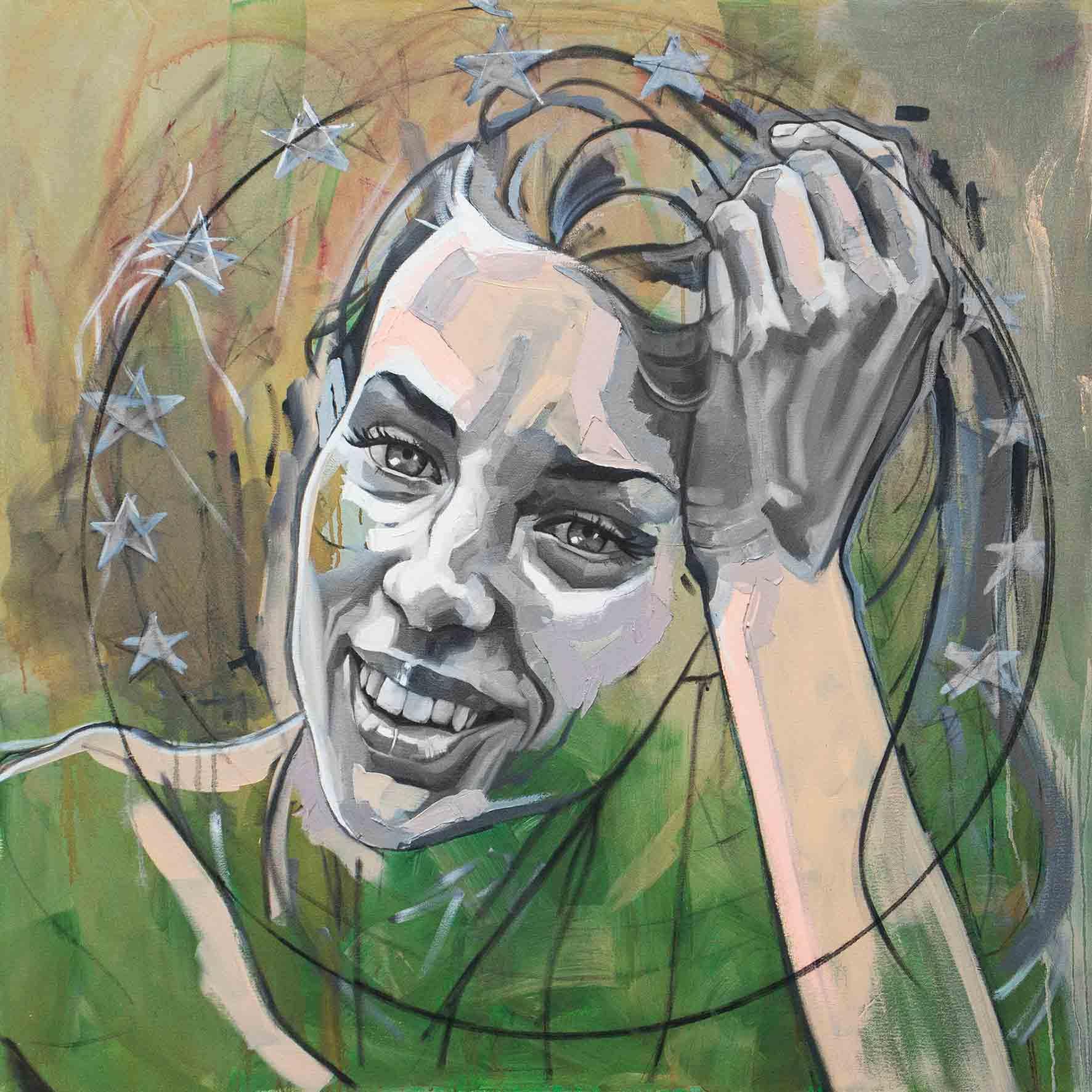 Natalya & the stars, Oil & Acrylic on Canvas 48×48 Inches