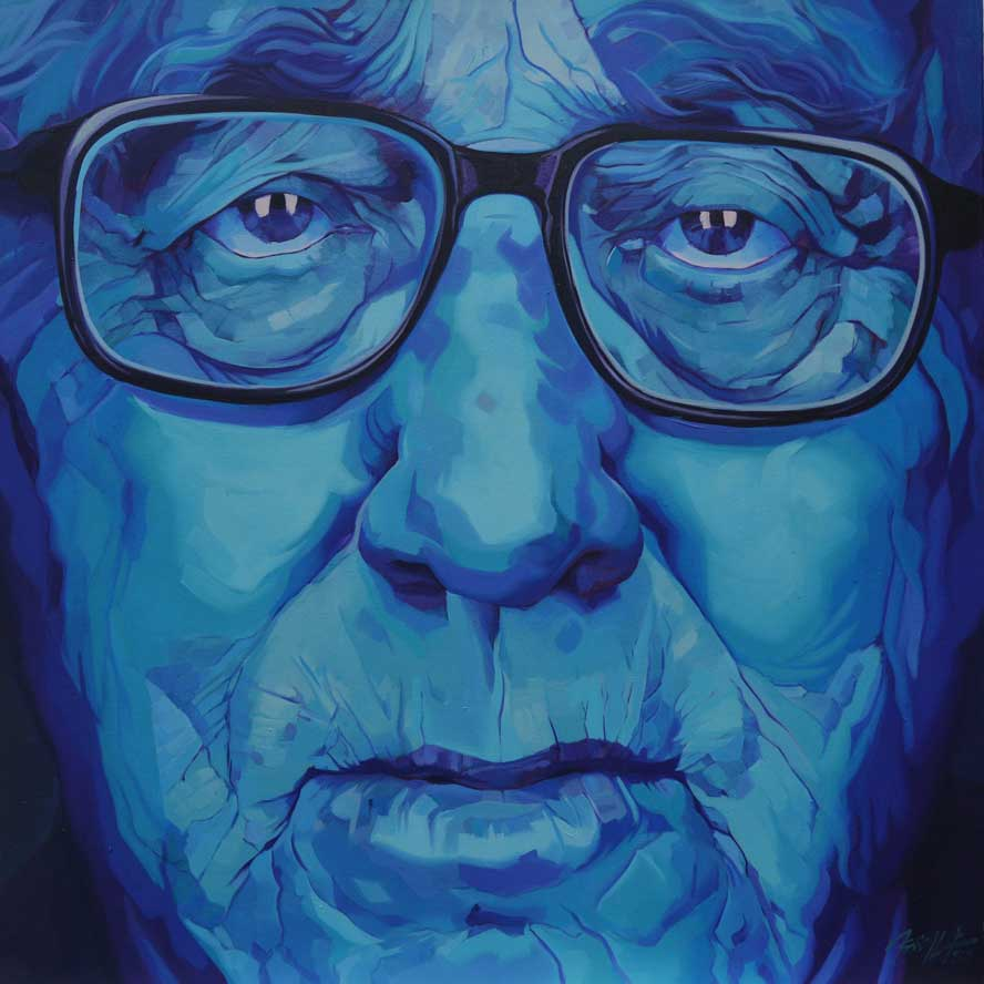 "Henry Kissinger, Oil on Canvas 36""x36"""