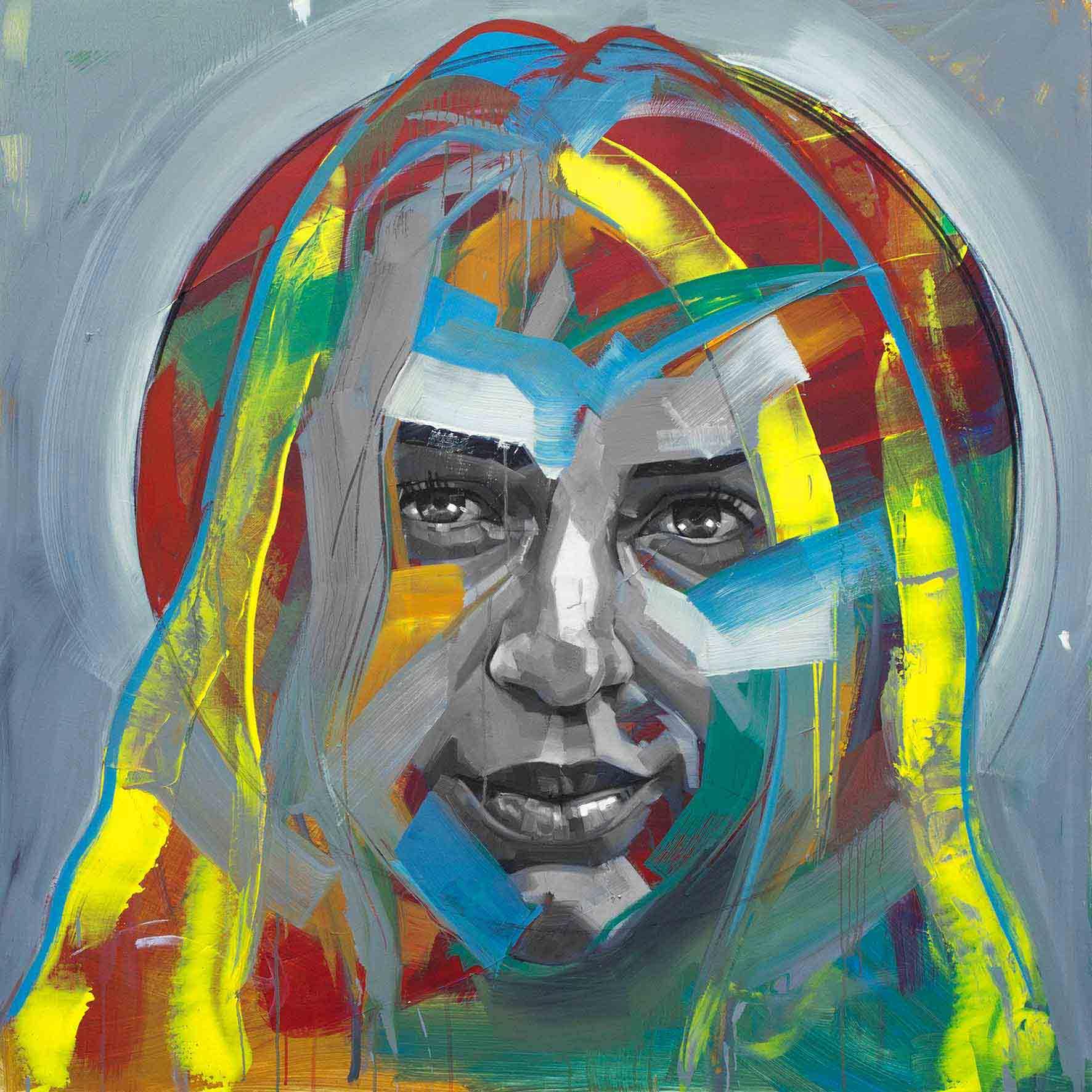 Natalya, Oil & Acrylic on Canvas 48×48 Inches
