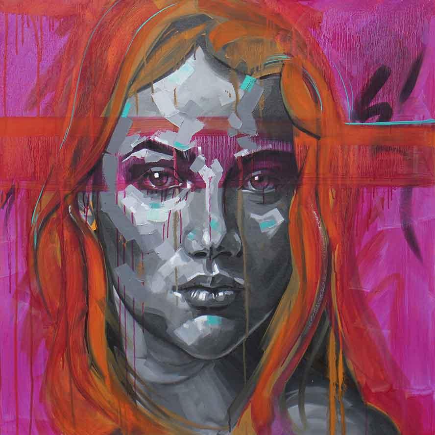 Unauthorisd 90 x 90cm, Oil on Canvas