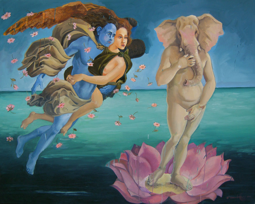 "The Birth of Ganesh,  Oil on Canvas 48""X60"""