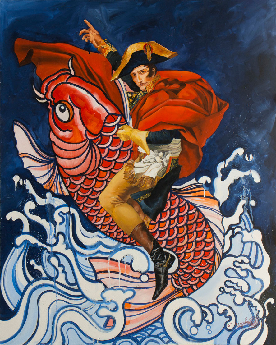 "Carp and The Napolean,  Oil on Canvas 48""X60"""
