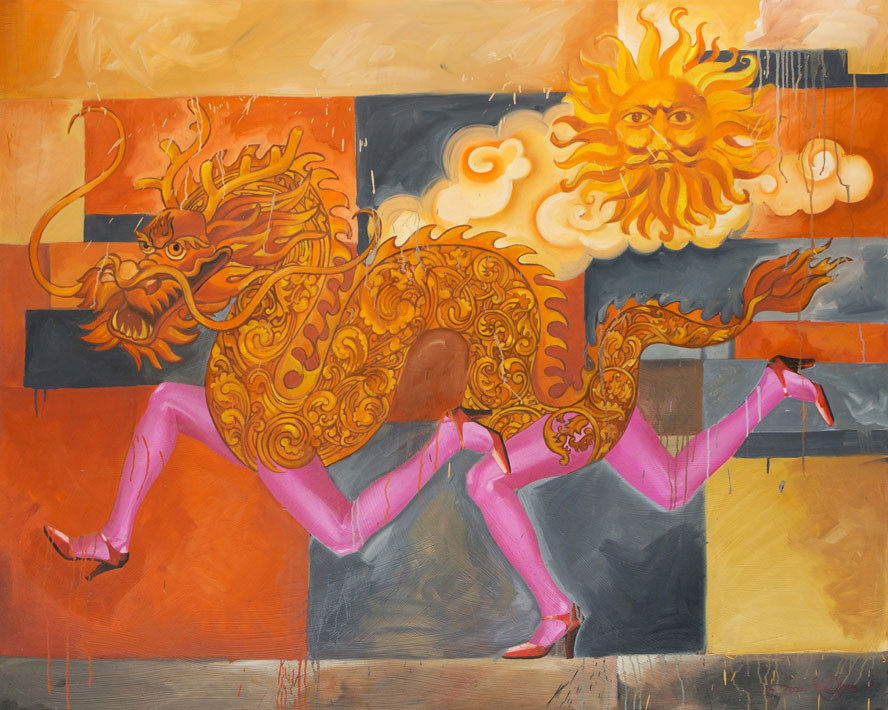"Dragon with Pink Legs,  Oil on Canvas 48""X60"""