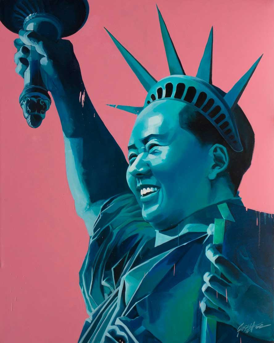 "Liberty Mao,  Oil on Canvas 60""x48"""