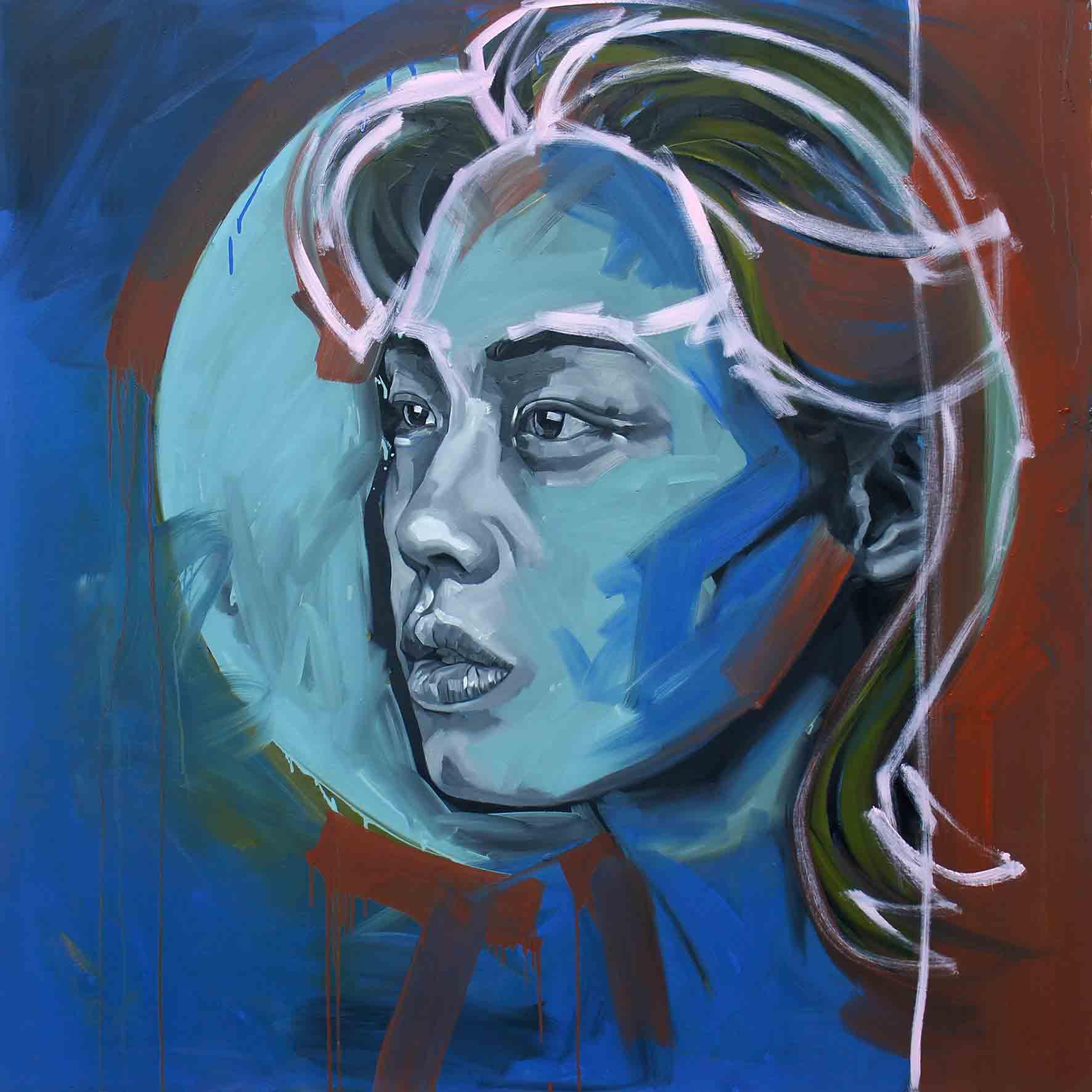 Rainy Blue, Oil on Canvas 48×48 inches