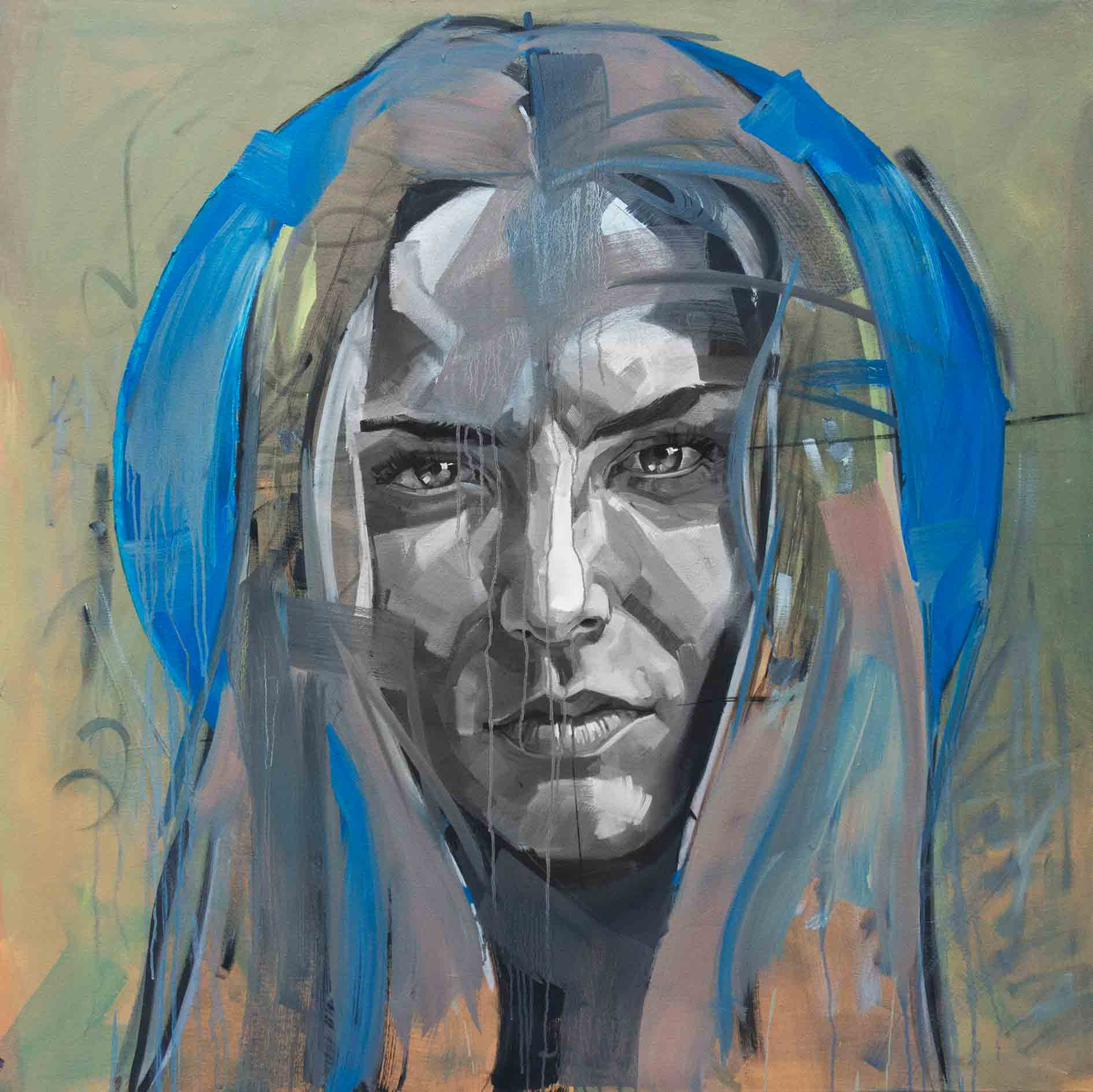 Kristel Blue, Oil & Acrylic on Canvas 48×48 Inches