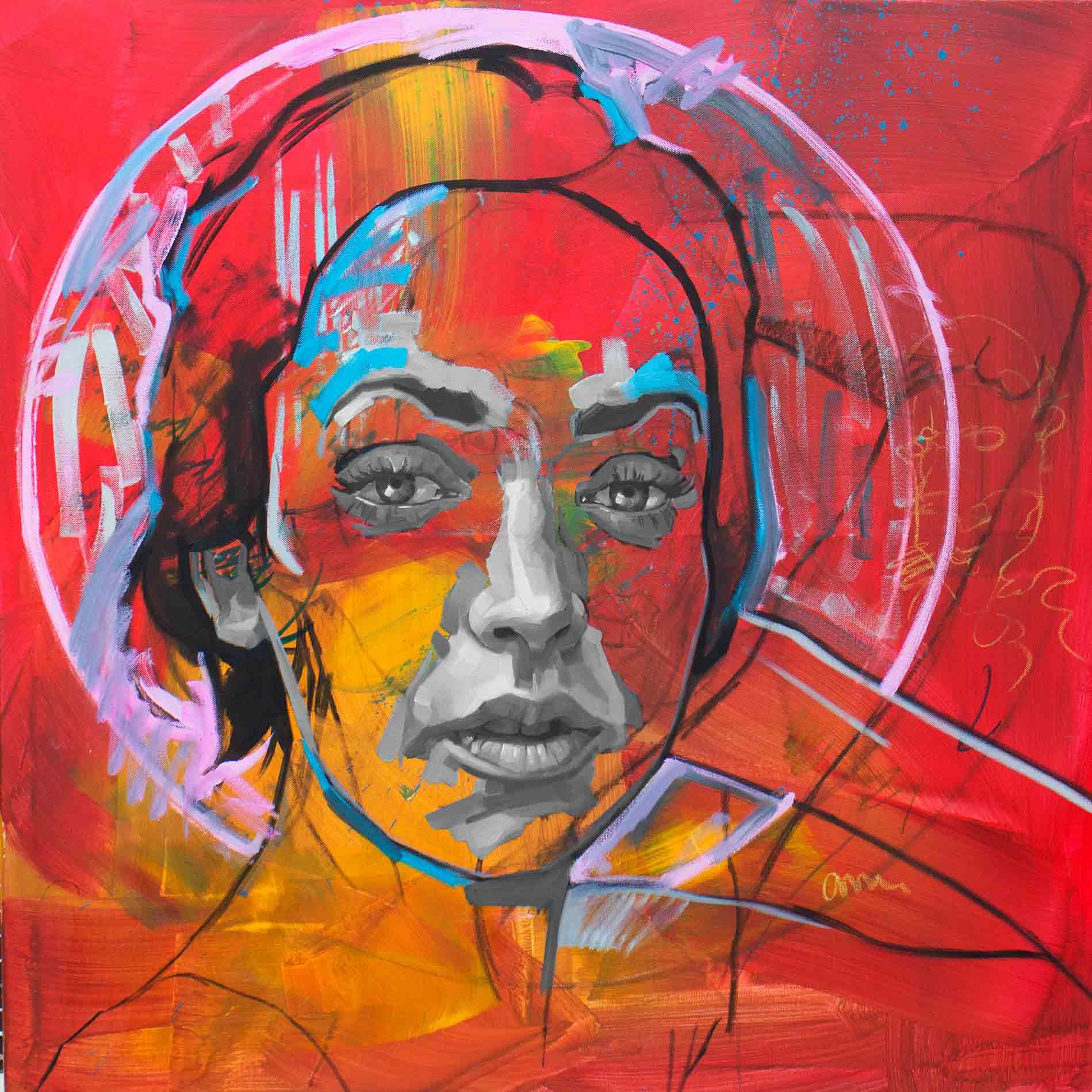 Greta Crimson, Oil & Acrylic on Canvas 36×36 Inches