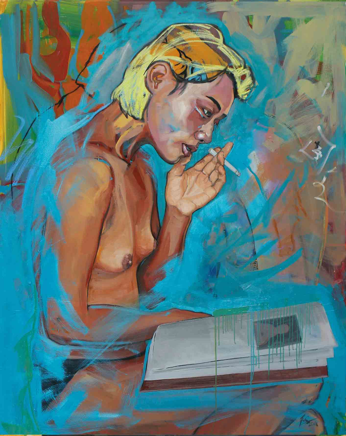 She reads, She smokes, Oil on Canvas 120x150cm